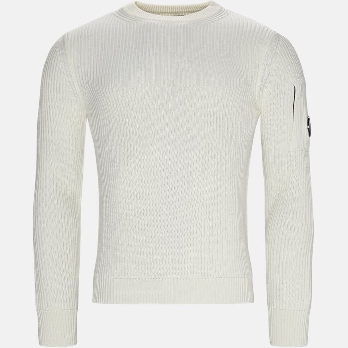 Merino Fisherman Crew Neck Sweater - Strik - Regular - Hvid